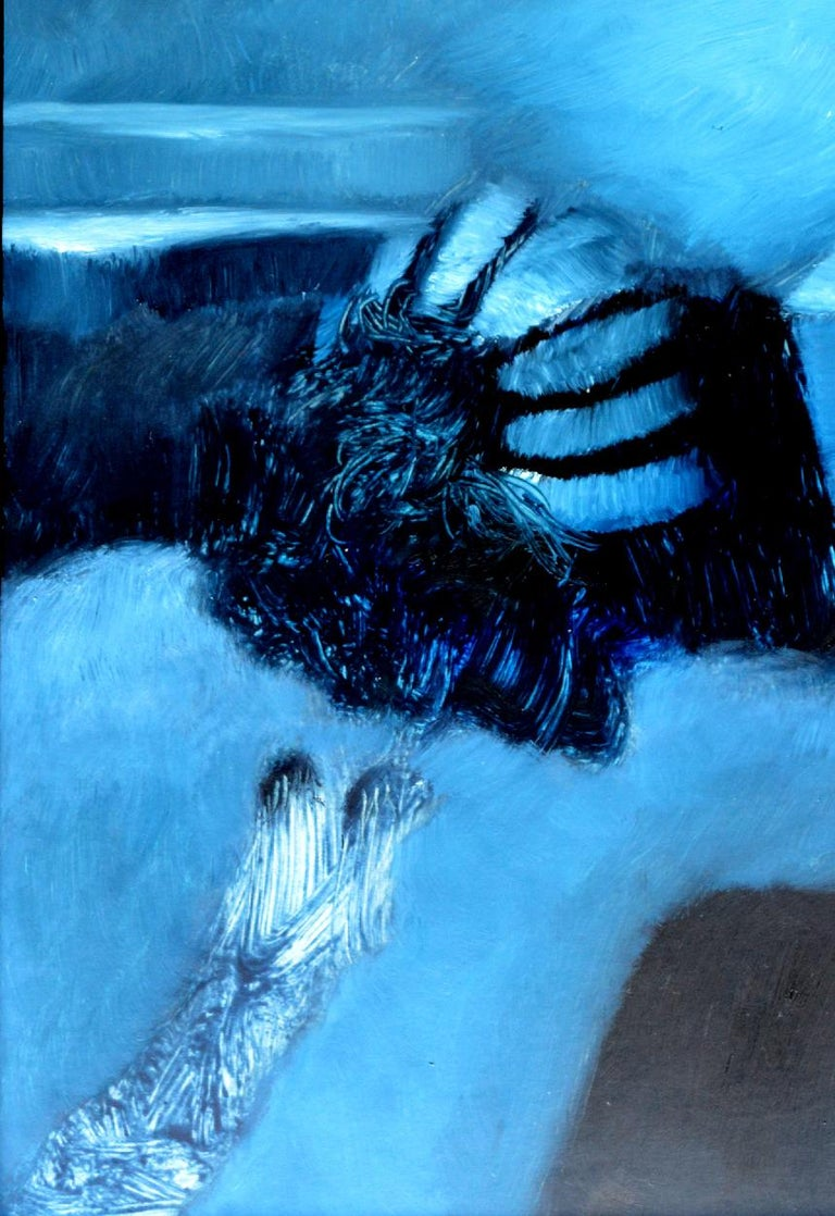 'Fallen Angel' by Rolando Duartes is a beautiful abstract figurative oil painting. The art piece depicts a back of a human body with marks from the wings.  Beautiful blue color tones and the design of the work brings a sense of tranquility and
