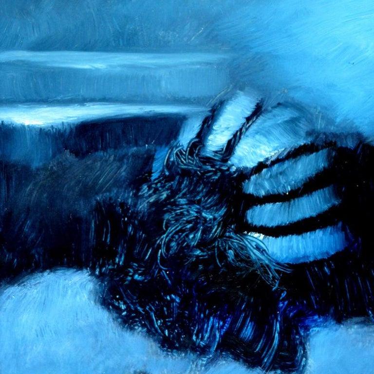 Fallen Angel, Rolando Duartes, Blue Abstract Figurative Oil Painting, Minimalist For Sale 1