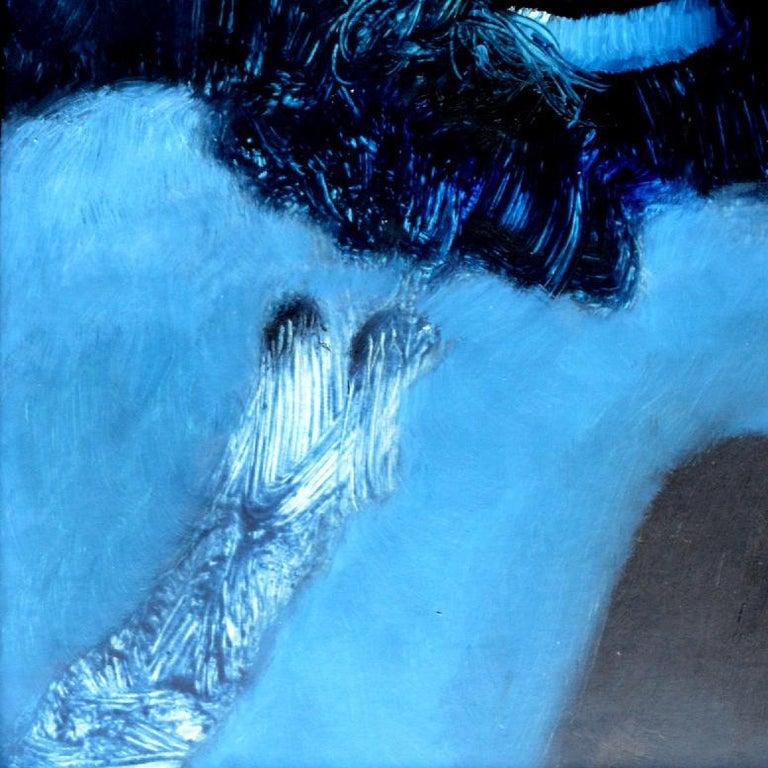 Fallen Angel, Rolando Duartes, Blue Abstract Figurative Oil Painting, Minimalist For Sale 3