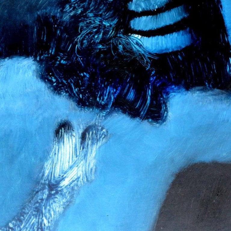 Fallen Angel, Rolando Duartes, Blue Abstract Figurative Oil Painting, Minimalist For Sale 2