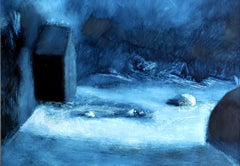 They Are Coming, Rolando Duartes, Blue Abstract Oil Painting, Minimalist