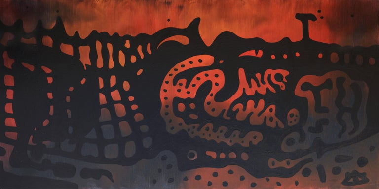 'Alligator' is a beautiful abstract acrylic animal painting on canvas by emerging Ukrainian artist - Yuriy Zakordonets. It is a contemporary art piece presenting alligator, performed in expressionist graphic style with orange, red and black color