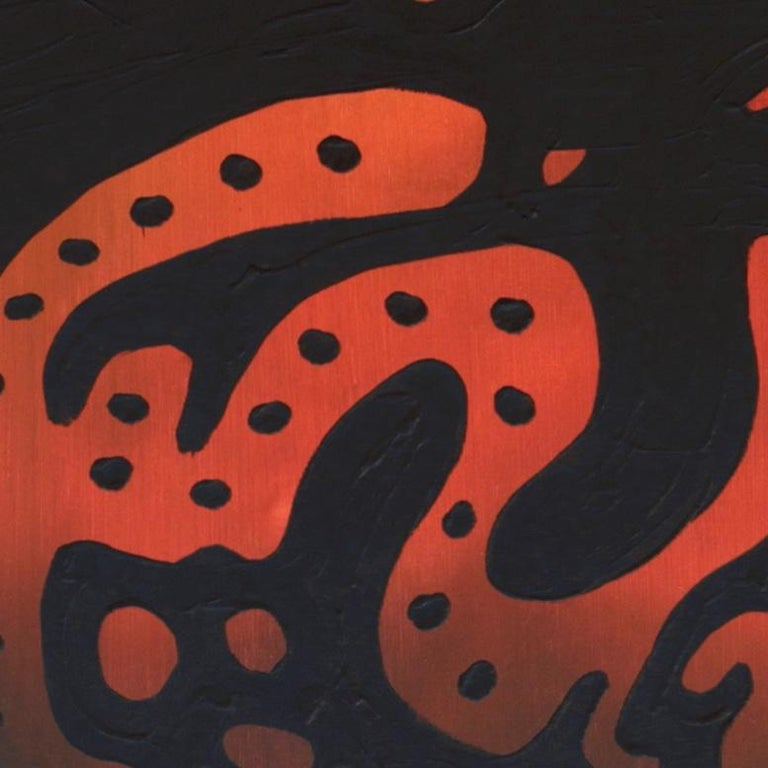 Alligator, Contemporary Abstract Expressionist Animal Painting Orange Black Red For Sale 2