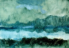 Unknown Landscape, Rolando Duartes, Blue Abstract Oil Painting, Expressionism