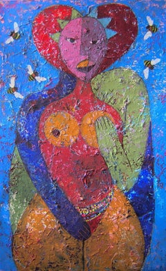 Love Triangle, Mwamba Mulangala, Colorful Abstract, Female Portrait, African Art