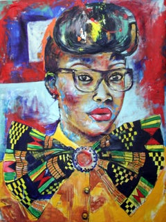 Afro Sister V, Mwamba Chikwemba, Woman Portrait, Bright Figurative Art, Yellow