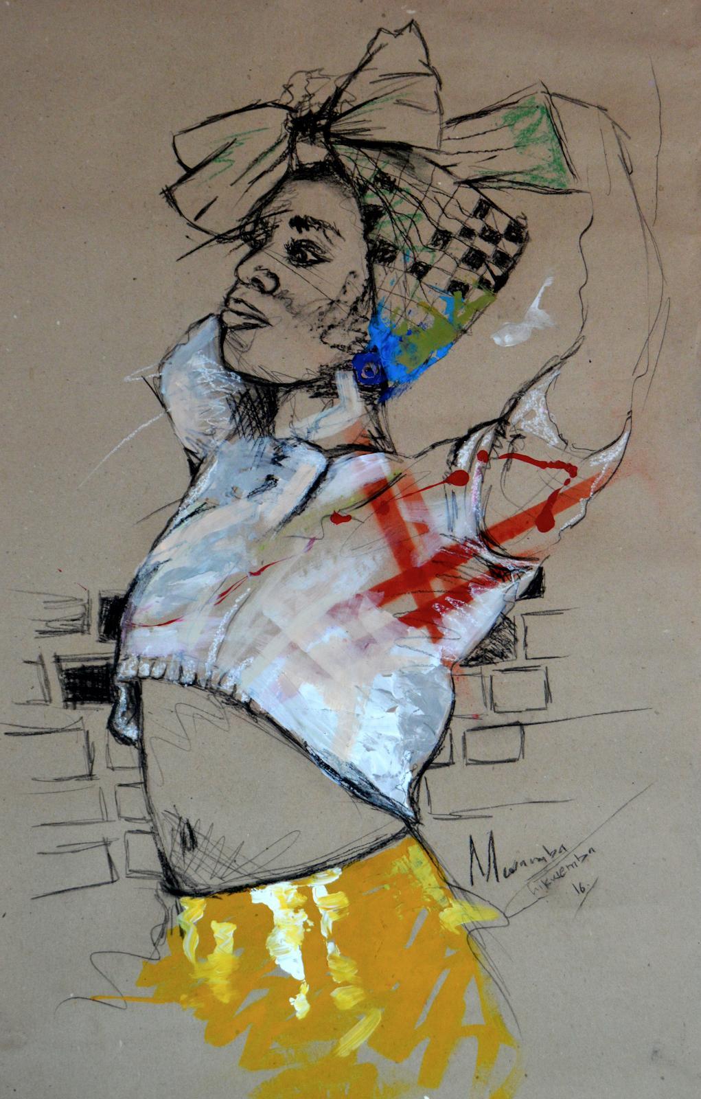 Women's Identity I, Mwamba Chikwemba, Female Portrait, Black Woman, African Art
