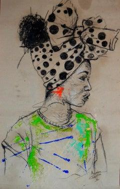 Women's Identity II, Mwamba Chikwemba, Female Portrait, Black Art, Green Accent