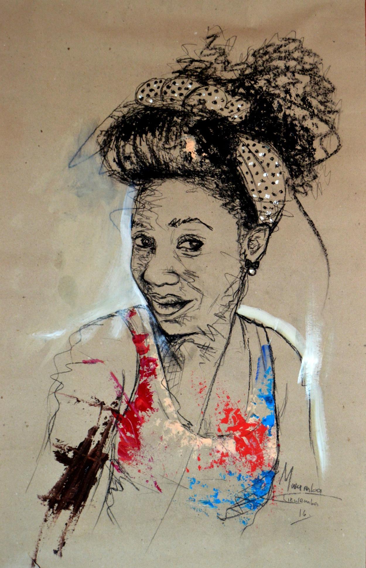 Women's Identity III, Mwamba Chikwemba, Female Portrait Drawing, African Art