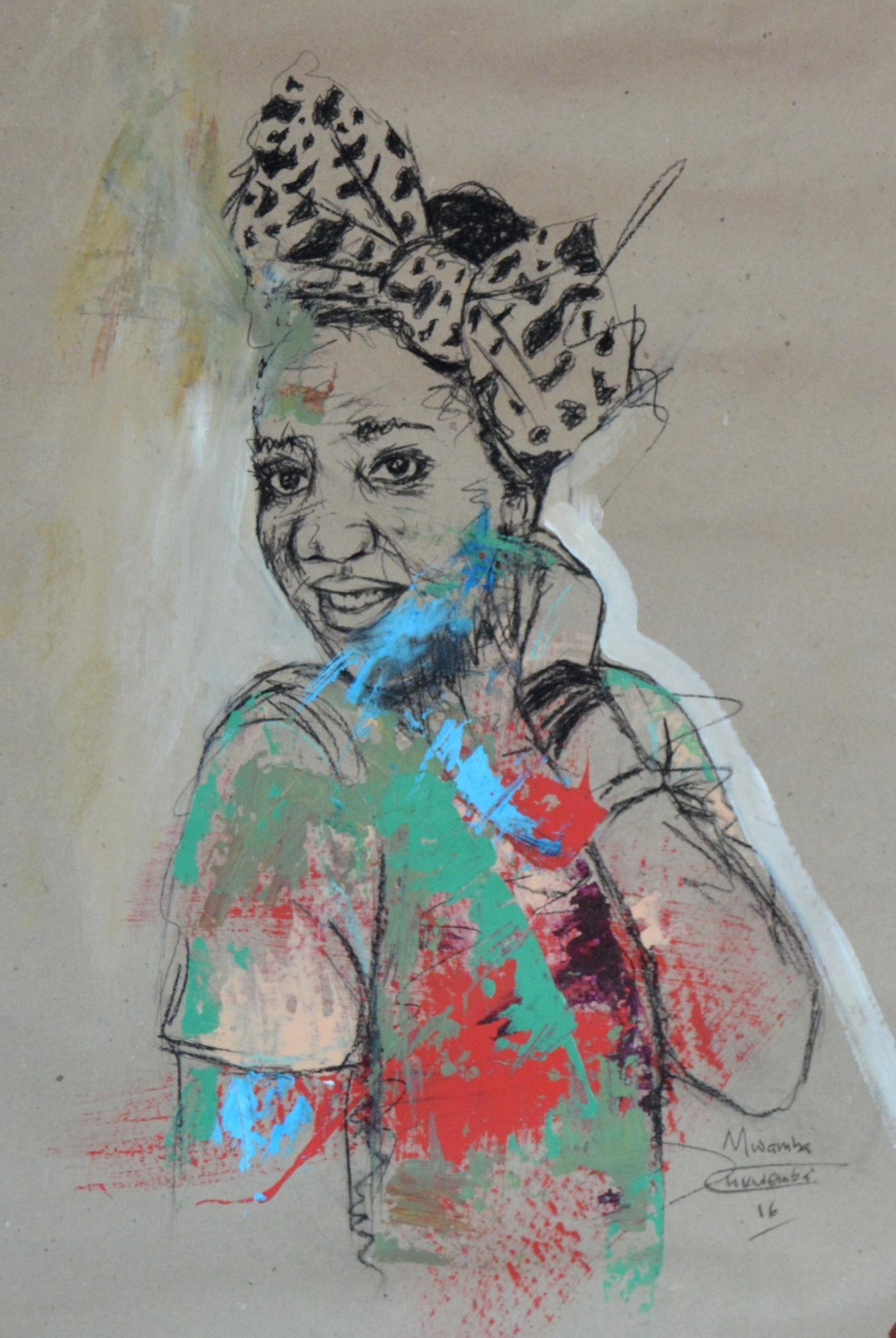 Women's Identity IV, Mwamba Chikwemba, Female Charcoal Drawing, Self-Portrait