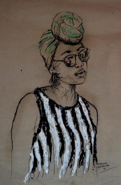 Women's Identity IX, Mwamba Chikwemba, Charcoal Drawing, Feminism, Portrait