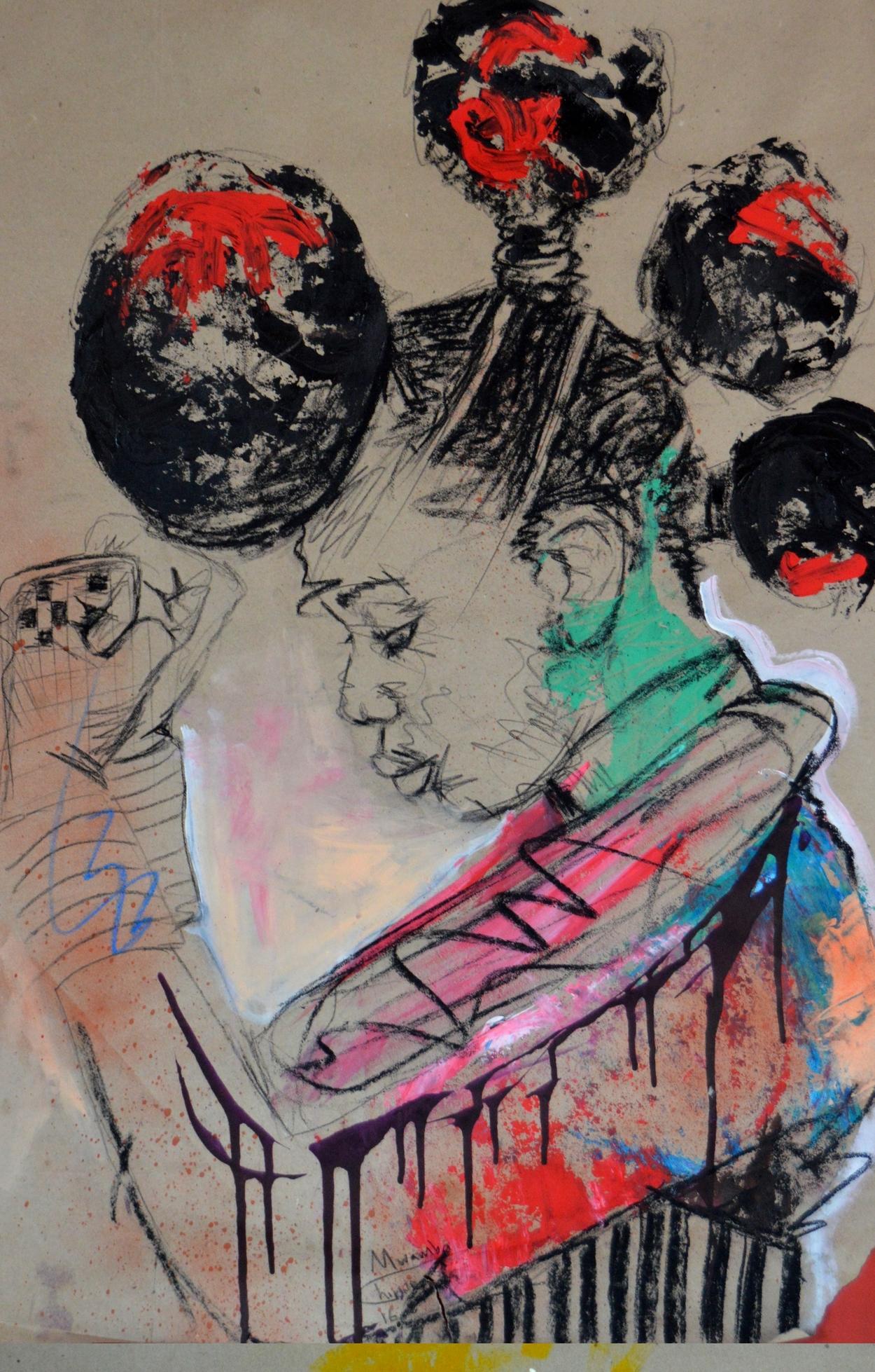 Women's Identity VI, Mwamba Chikwemba, Feminism, African Art, Drawing on Paper