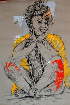 Women's Identity VII, Mwamba Chikwemba, Feminism, African Art, Yellow, Drawing
