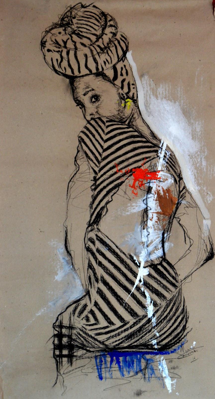Women's Identity VIII, Mwamba Chikwemba, Female Portrait, Elegant, Drawing