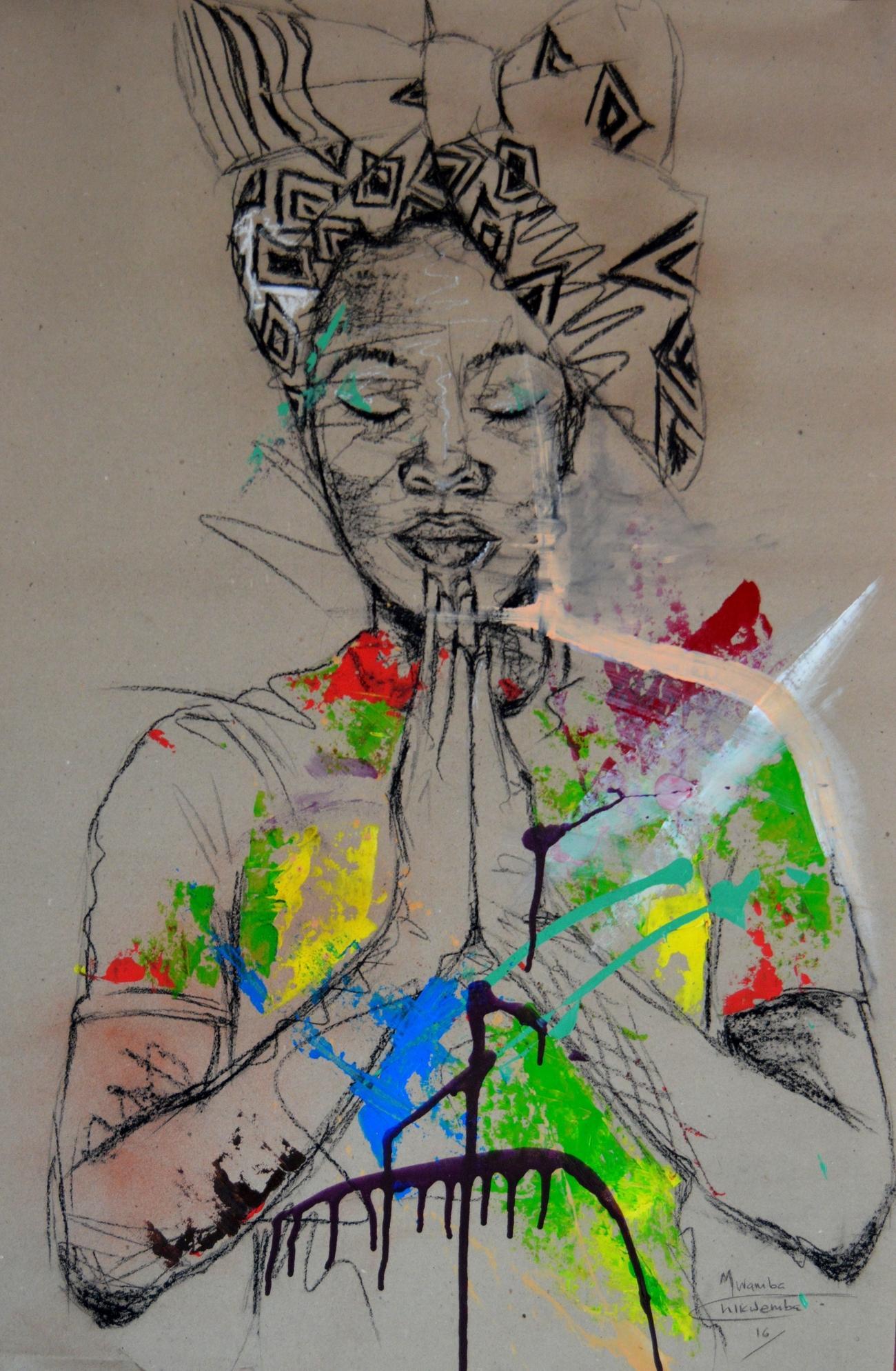 Women's Identity X, Mwamba Chikwemba, Female Portrait, Meditative, African Art