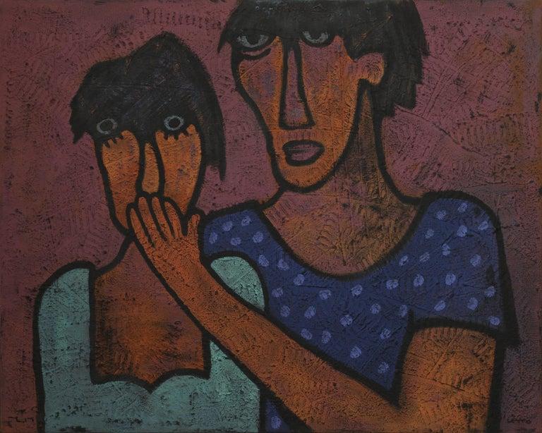 Yuriy Zakordonets Figurative Painting - Slow Silence, Contemporary Expressionist Painting Portrait Purple Blue Orange
