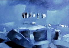Unknown Effect, Contemporary Abstract Oil Painting Paper Small Blue Landscape