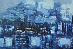 Unknown City, Contemporary Abstract Oil Painting Paper Blue City Architecture