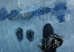 The Guest, Contemporary Abstract Art Oil Painting Paper Blue Landscape Black