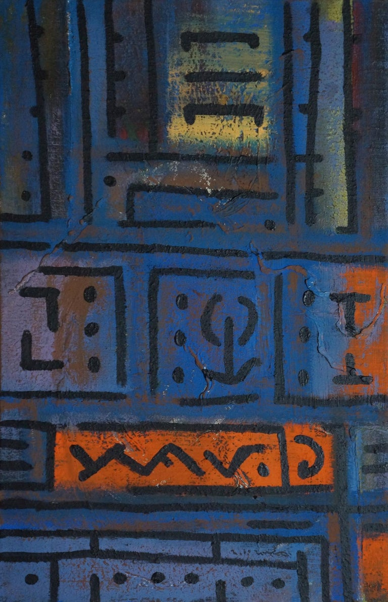 Yuriy Zakordonets Abstract Painting - Solitaire, Contemporary Abstract Acrylic Painting Canvas Geometric Blue Orange