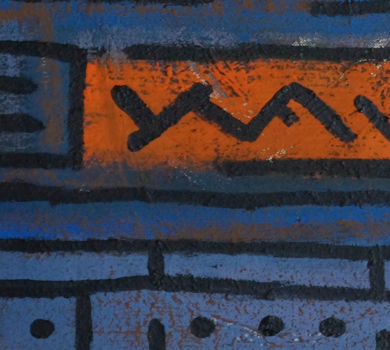 Solitaire, Contemporary Abstract Acrylic Painting Canvas Geometric Blue Orange For Sale 1