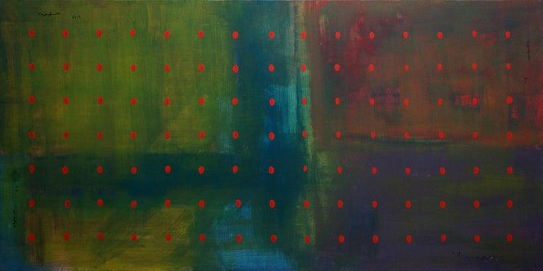 Yuriy Zakordonets Interior Painting - Untitled, Contemporary Abstract Acrylic Painting Canvas Minimalist Green Blue
