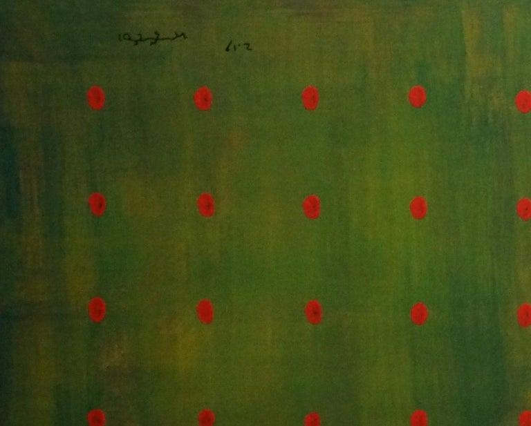Untitled, Contemporary Abstract Acrylic Painting Canvas Minimalist Green Blue - Black Interior Painting by Yuriy Zakordonets