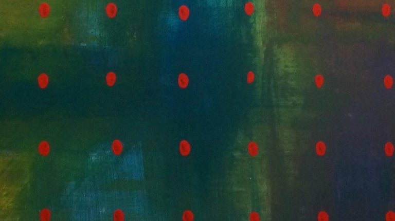 'Untitled' is a beautiful abstract acrylic painting on canvas by emerging Ukrainian artist - Yuriy Zakordonets. It is a contemporary art piece presenting abstract polka-dot elements against blue and green background, performed in expressionist style
