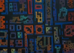 Psycho, Contemporary Abstract Expressionist Art Painting Blue Orange Geometric