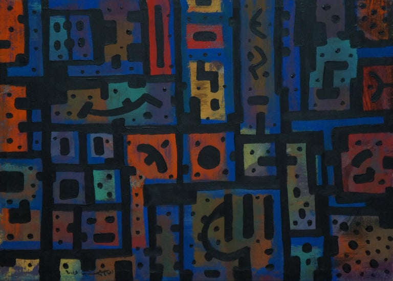 Yuriy Zakordonets Abstract Painting - Psycho, Contemporary Abstract Expressionist Art Painting Blue Orange Geometric