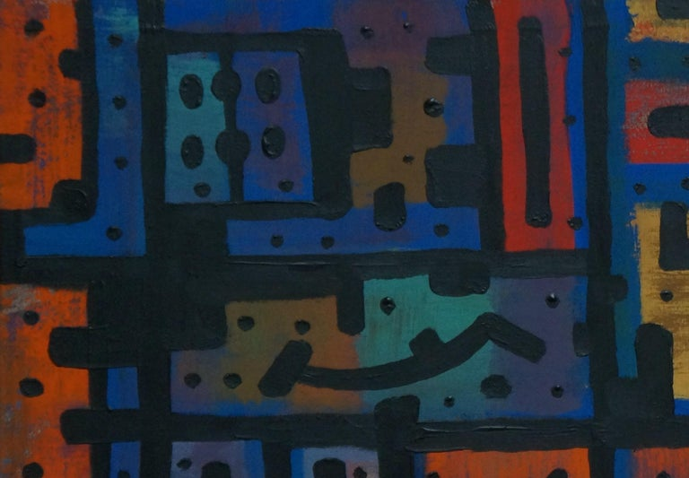 Psycho, Contemporary Abstract Expressionist Art Painting Blue Orange Geometric - Black Abstract Painting by Yuriy Zakordonets