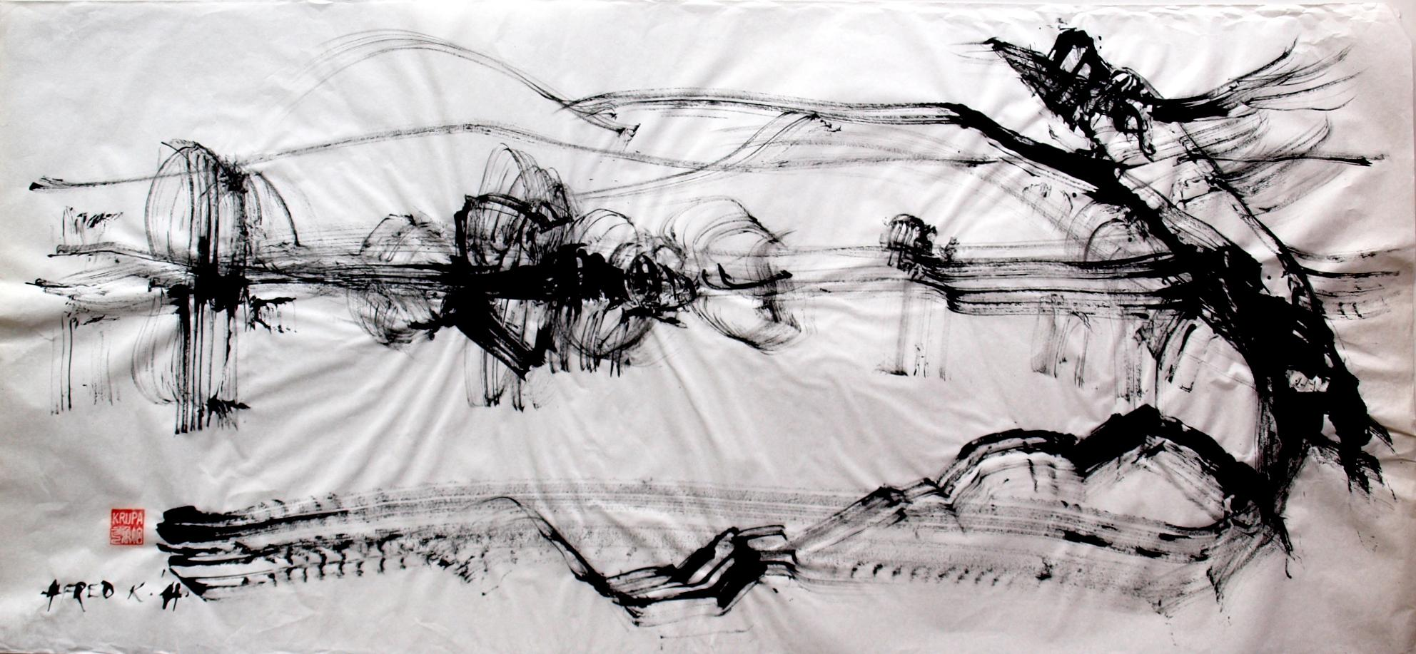 At the River Bank, Contemporary Abstract Ink Painting Paper Expressionist Black