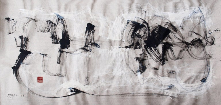 Alfred Freddy Krupa Landscape Painting - At the River, Contemporary Abstract Ink Painting Expressionist Landscape Paper