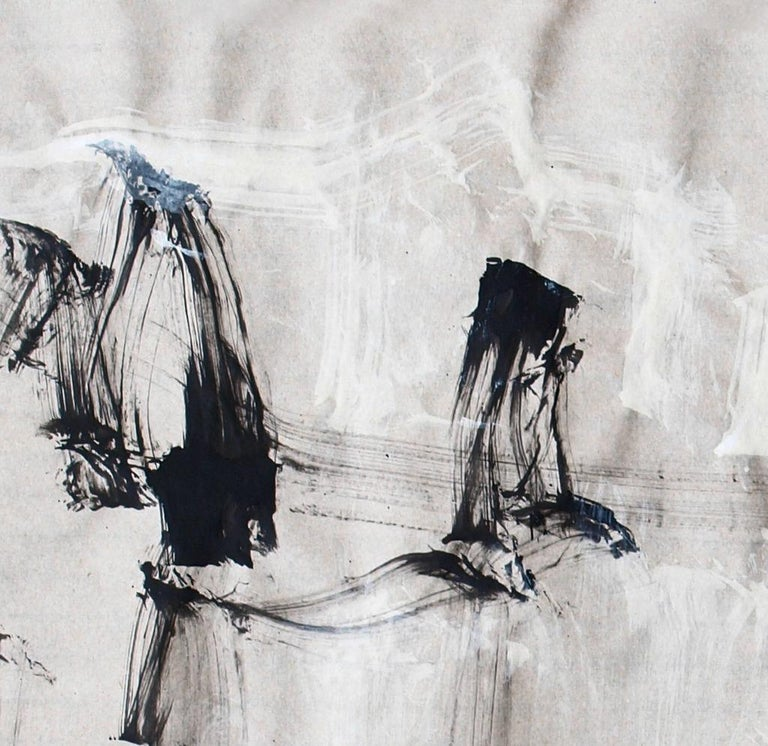 'At the River' is a stunning contemporary abstract ink painting on paper by Croatian emerging artist - Alfred Freddy Krupa. It is an expressionist artwork with a traditional Japanese calligraphy design, intense movements, and highly emotional style