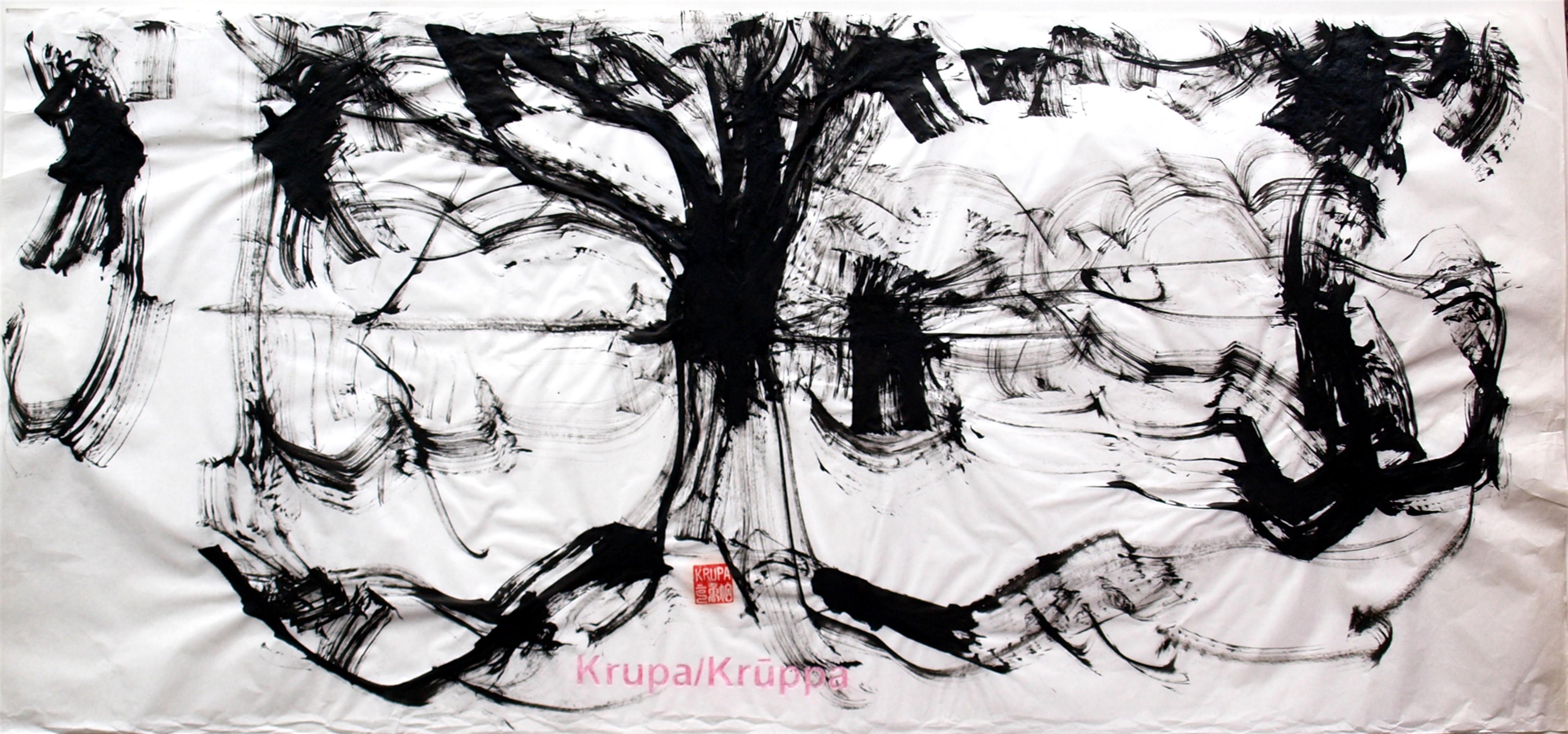 On the Bank of the Korana River, Abstract Expressionist Ink Painting Paper Black