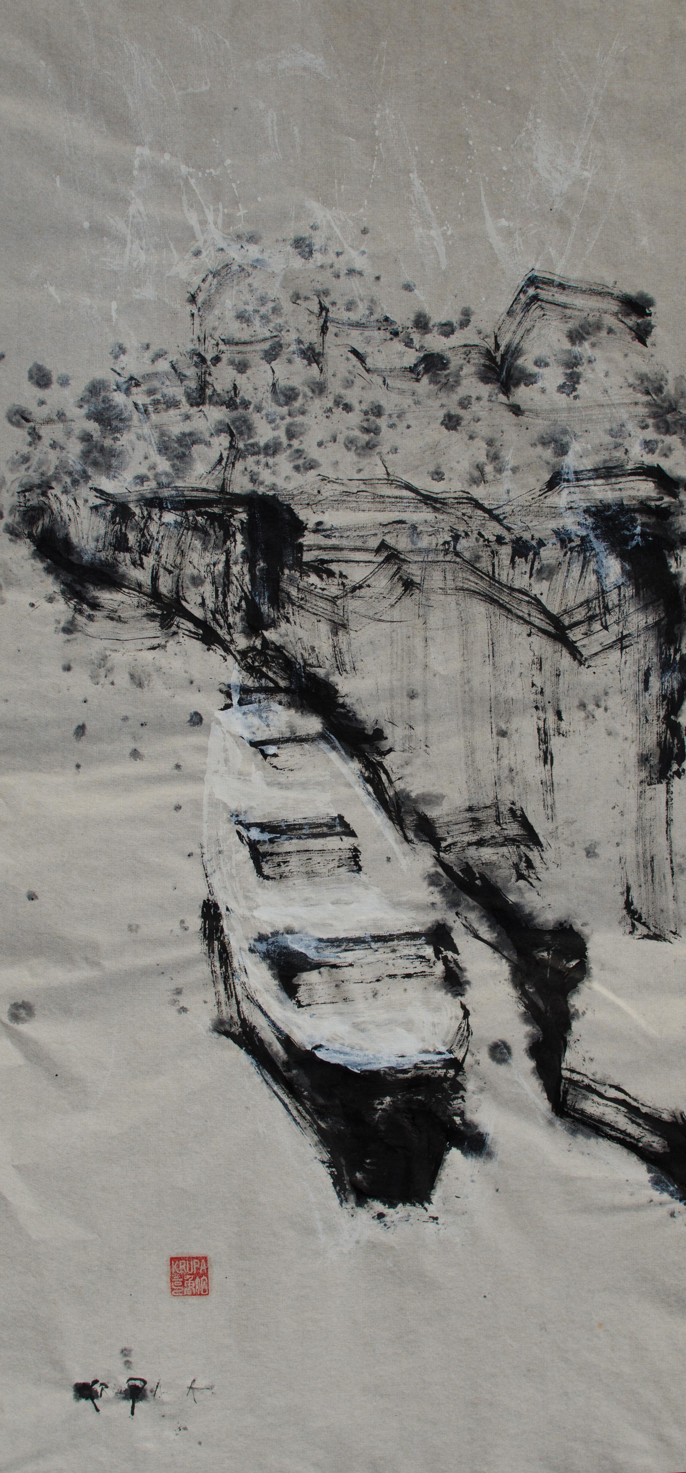 The Boat, the Snow, the River, Ink Painting Paper Abstract Expressionist Black