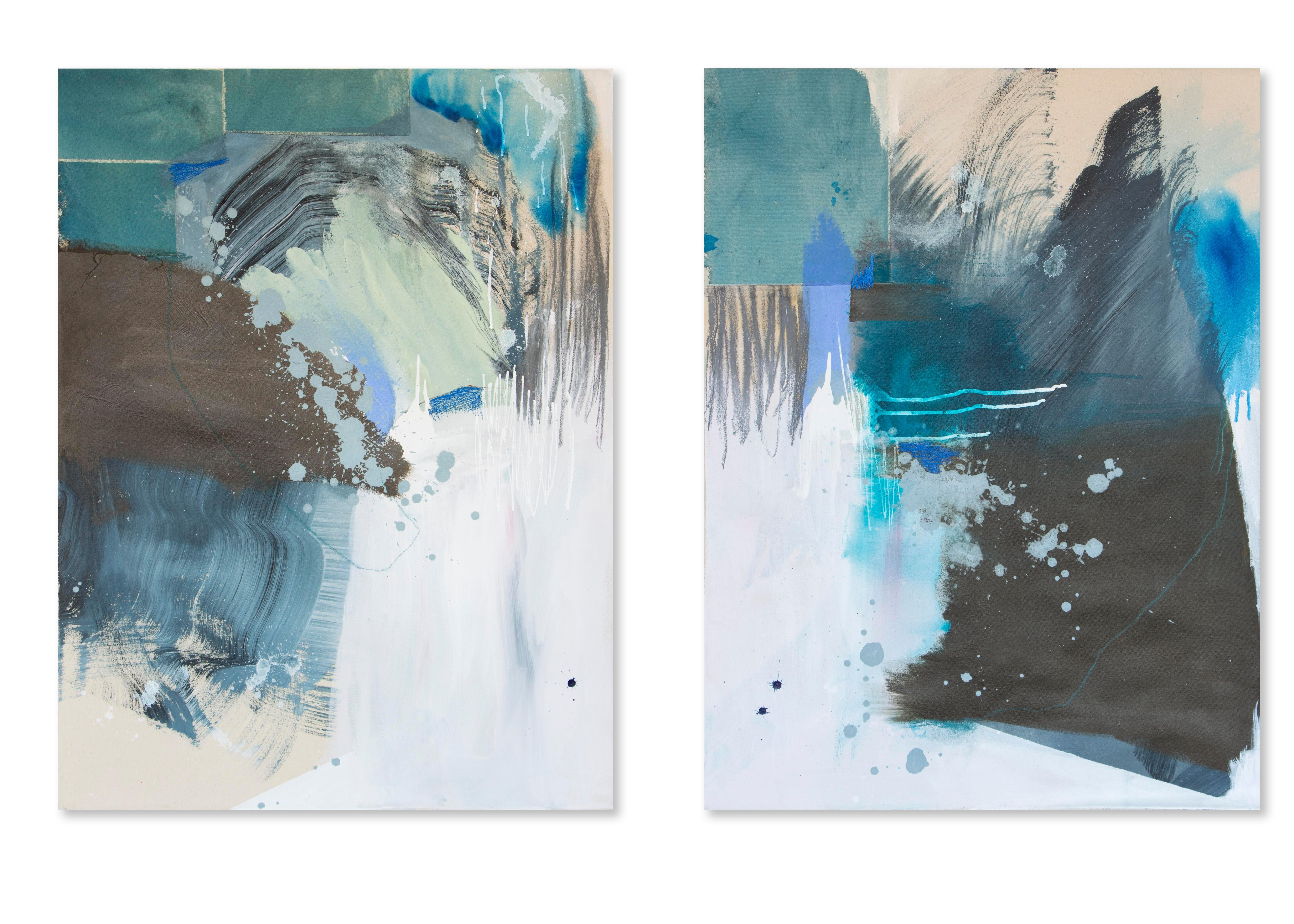 Collide, Contemporary Abstract Art Mixed Media Painting Canvas Green Diptych