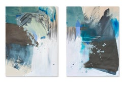 Collide, Rebecca Stern, Abstract Expressionism, Mixed-media, Diptych, Collage