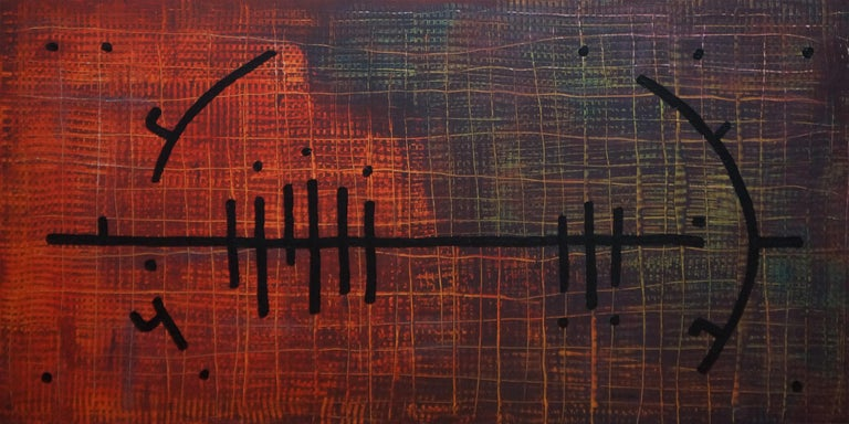 Yuriy Zakordonets Still-Life Painting - Polyamory, Contemporary Minimalist Abstract Painting Canvas Geometric Red Purple