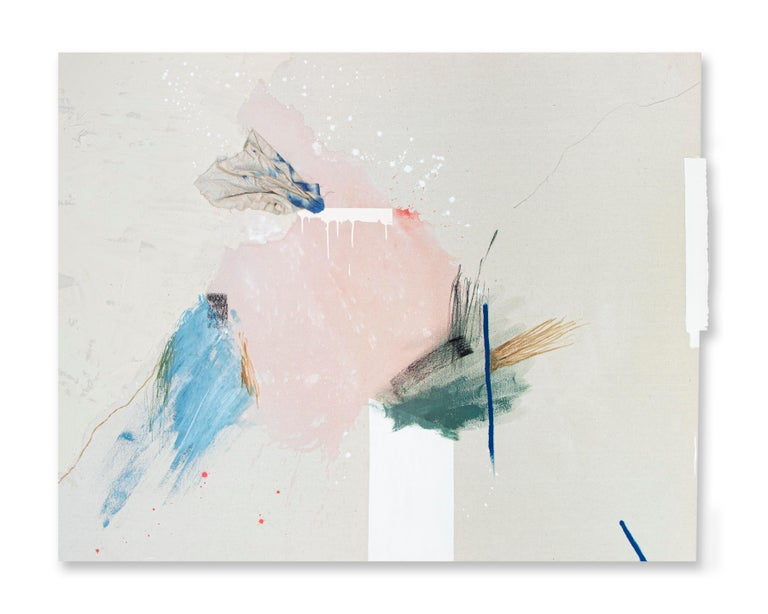 Rebecca Stern Abstract Painting - It's a Loud Kind of Quiet, Minimalist Art Abstract Mixed Media Painting Pink