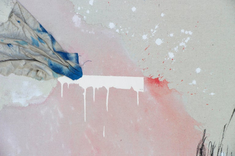 It's a Loud Kind of Quiet, Minimalist Art Abstract Mixed Media Painting Pink - Gray Abstract Painting by Rebecca Stern