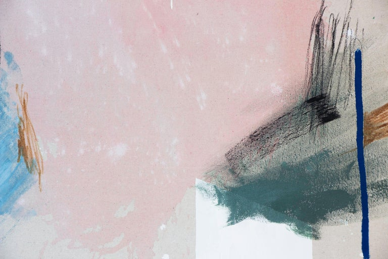 'It's a Loud Kind of Quiet' - a beautiful minimalist abstract art from the emerging American artist - Rebecca Stern. It is a mixed media (acrylic paint, ink, pastel, found fabric) painting on canvas with an elegant design. Soft pink and blue color
