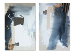 Phase Two, Rebecca Stern, Contemporary Abstract Mixed-media, Blue Diptych