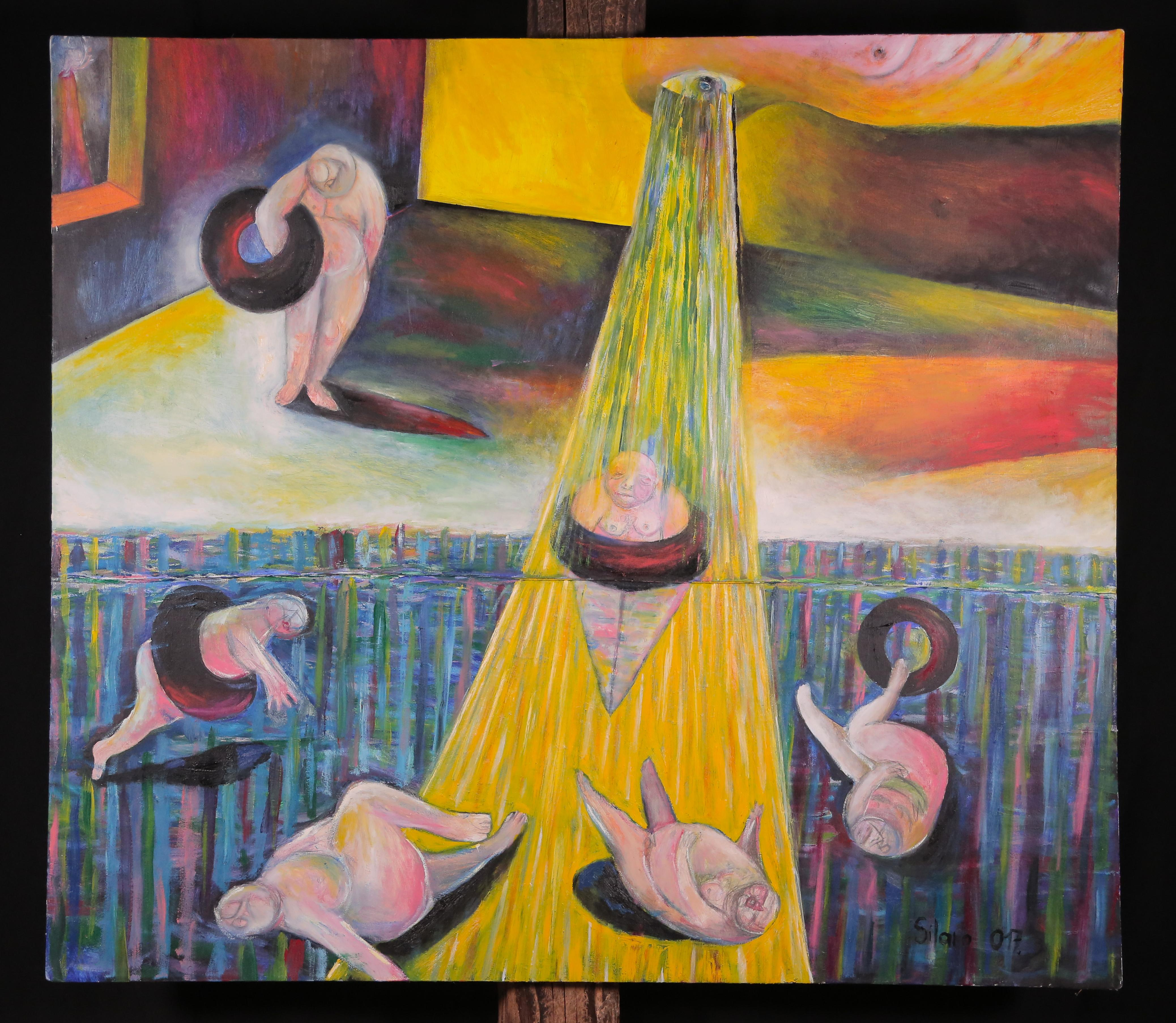 Sadness, Szilard Szilagyi, Abstract Portrait, Oil Painting, Surrealist