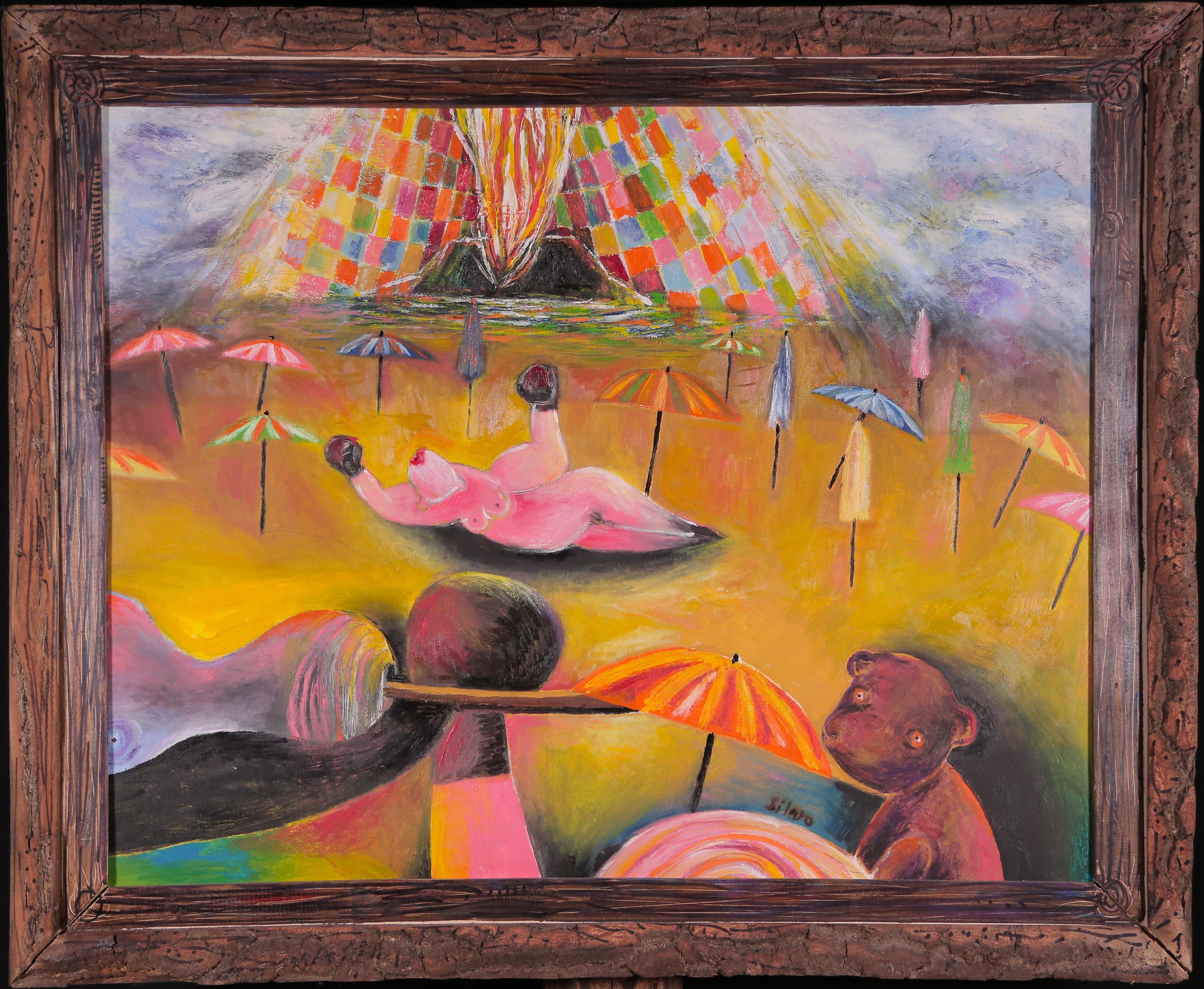 Post-season with Eruption, Szilard Szilagyi, Abstract Oil Painting, Surrealist