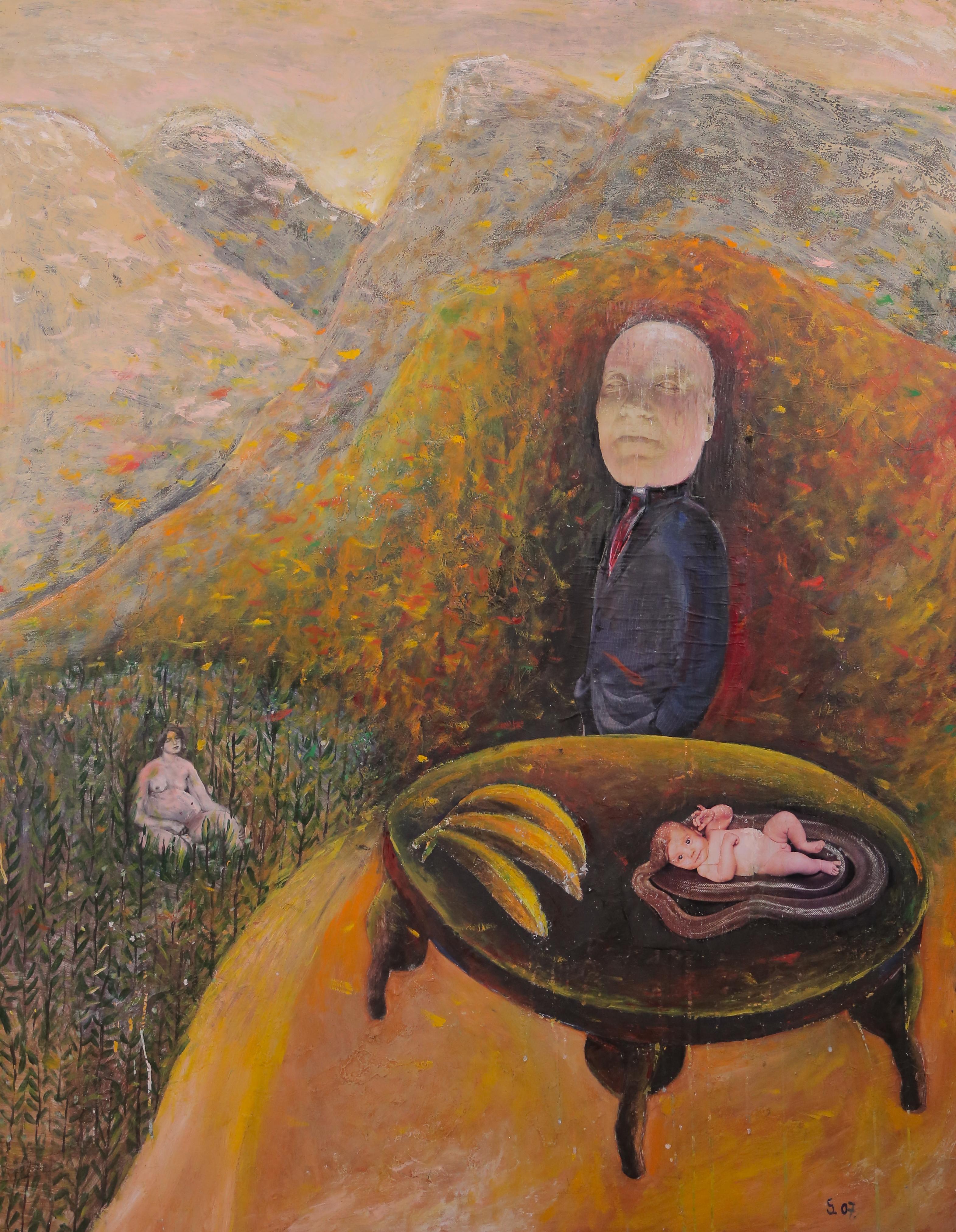 My Mother's Lover, Szilard Szilagyi, Figurative Oil Painting, Surrealist, Yellow