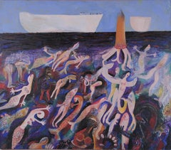 Mermaid Harvest, Szilard Szilagyi, Oil Painting, Expressionist, Figurative