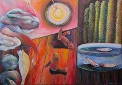 Inertia, Szilard Szilagyi, Modern Surrealist Oil Painting, Expressionist, Pink
