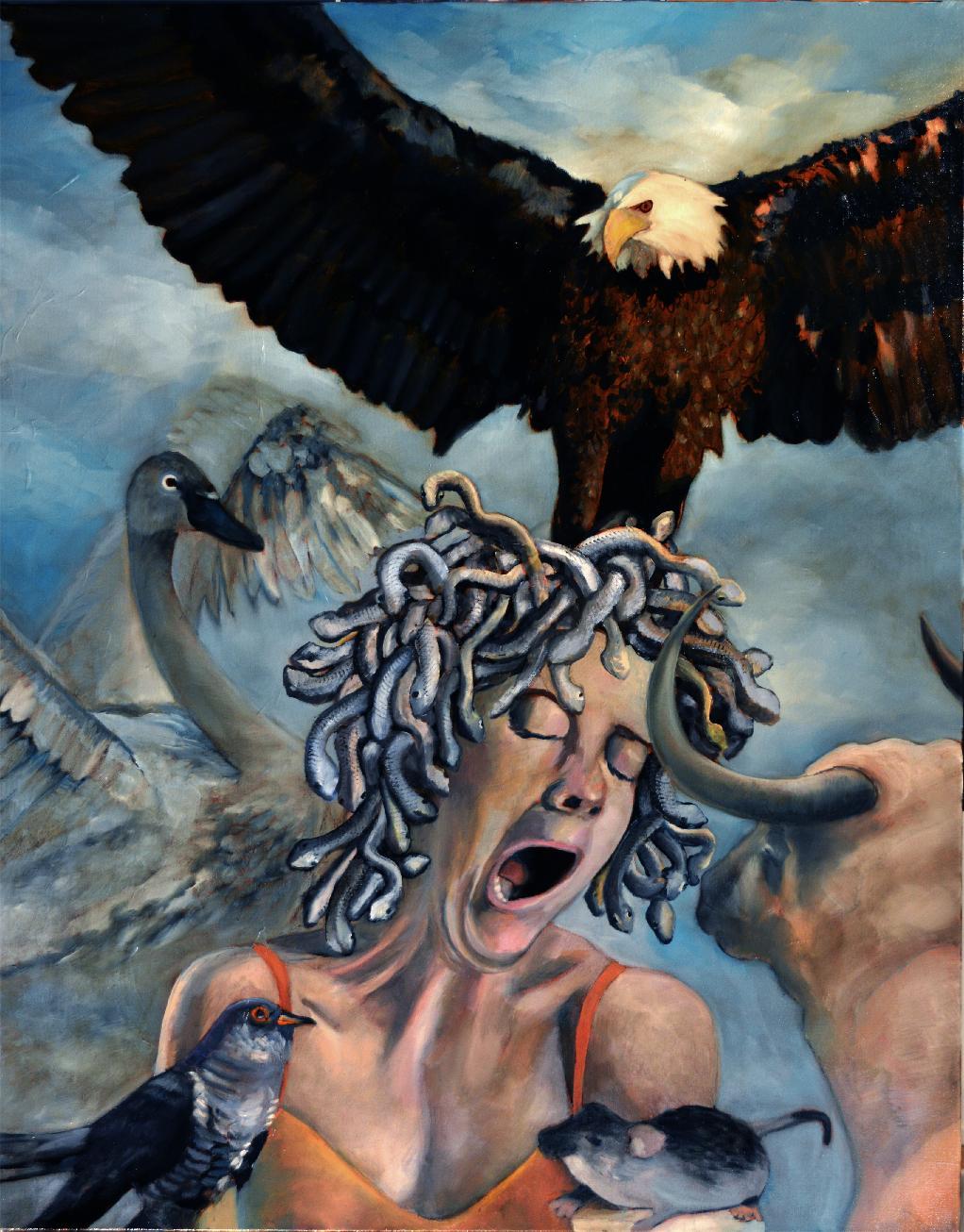 Zeus Frustration, Modern Art Portrait Oil Painting Canvas Blue Figurative Woman
