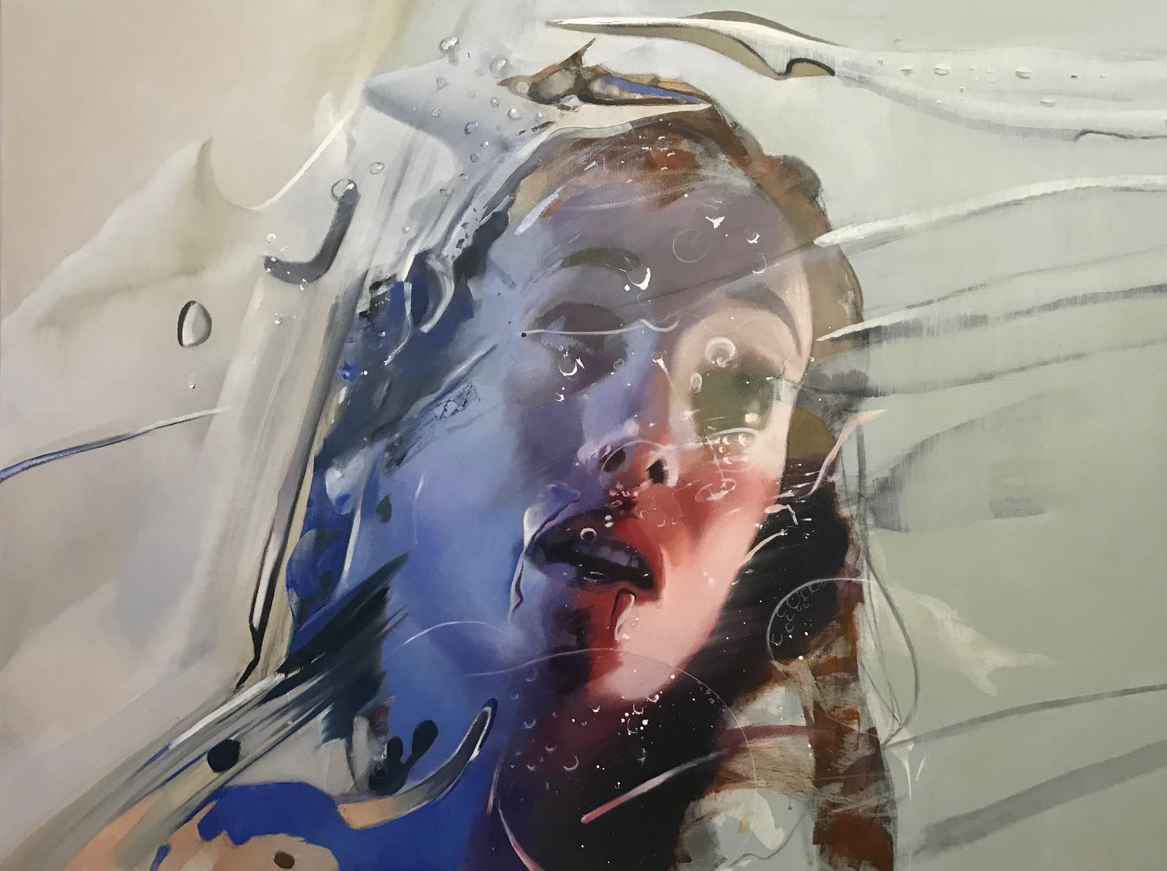 Brand Yourself, Contemporary Abstract Art Oil Painting Surrealist Blue Portrait